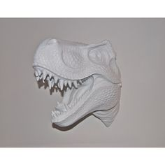 White T-Rex Dinosaur Head Wall Mount - Dinosaur Faux Taxidermy