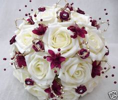 Plum and Ivory Wedding Colors | WEDDING FLOWERS POSY BOUQUET IN IVORY ROSES WITH BURGUNDY AND GOLD ...