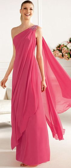 Charming A-line One Shoulder Beading Ruching Floor-length Chiffon Cocktail Dresses