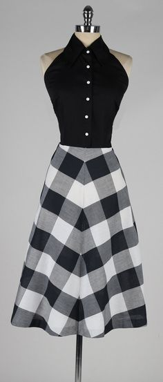 vintage 1950s dress . black plaid cotton halter by millstreetvintage