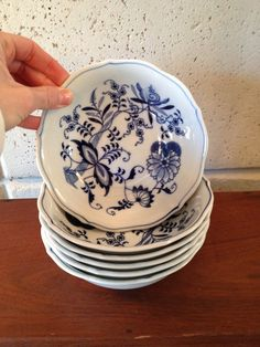 "Blue Danube China Japan Set 6 Cereal Bowls 6"" Mint Condition 