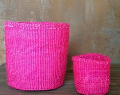 Your place to buy and sell all things handmade Pantry Storage, Toy Storage, Storage Baskets, Plant Pots, Potted Plants, Natural Texture, Sisal, Weaving, Yellow