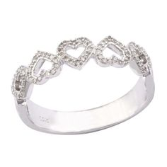 1/6 CT. T.W. Diamond Five Heart Ring in 10K White Gold - Zales