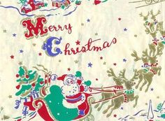 Vintage 1940s Christmas Wrapping Paper~Santa in Sleigh (09/14/2006)