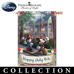 Mickey & Minnie Holiday Flags With Thomas Kinkade Art  Thomas Kinkade Disney's Mickey & Minnie Flag Collection