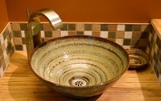 Pottery Sinks | Unique Bathroom Sinks | Small Bathroom Sinks | Hand Painted Sinks | Rustic Sinks | Handmade Sinks