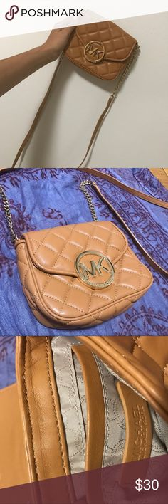 Michael Kors Mini Crossbody Cute, small (perfect for a phone), great for a night out. Light brown with Gold accents Michael Kors Bags Crossbody Bags