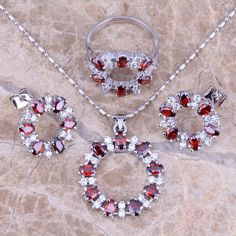 Good-Looking Red Garnet White Topaz Silver Jewelry Sets Earrings Pendant Ring Size 6 / 7 / 8 / 9 / 10 Free Gift Bag S0143