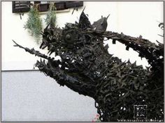 #Steel Animal Form: Abstract #artwork by #sculptor Blacksmith Kristan titled: 'Dragon (Giant Recycled Metal Monster sculptures)'. #art #artist #sculpture #BlacksmithKristan