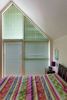 Triangular Aluminium Venetian Blinds in Green by Grand Design Blinds; Specialists in Shaped Blinds Attic Bedrooms, Grand Designs, South London, Venetian, Blinds, Dining Room, House Design, Windows, Green