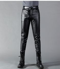 146598f10385 Thoshine 2018 Man Leather Pants Spring And Summer Fashion Men Slim PU  Leather Trousers High Elastic Man Motorcycle Pants Street - Online Shopping  in USA  ...