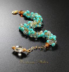Bracelet, Peruvian Opal, Aquamarines, Blue Topas