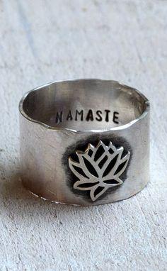 Namaste lotus ring yoga jewelry