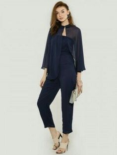 Buy Oliv Navy Blue Jumpsuit With Cape online in India at best price.  JumpsuitbyOLIV Made from polyester Bandeauneckline with collared cape  overlay...