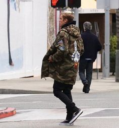 Justin Bieber In Beverly Hills Rocks Saint Laurent Camo Parka Jacket | UpscaleHype
