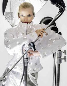 Diana Farkhullina | Futuristic Metallic Fashion Editorial | ELLE Russia