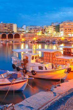 Old Venetion Harbour | Ruvin Destinations Photographer: kavalenkava/shutterstock.com Heraklion Crete, Las Vegas Blvd, Language School, Europe, Blue Hour, Weekend Trips, Beach Bum, Fishing Boats, Old Town