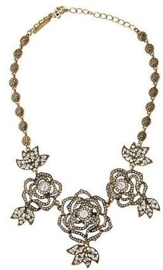 Oscar de la Renta Crystal Rose Necklace