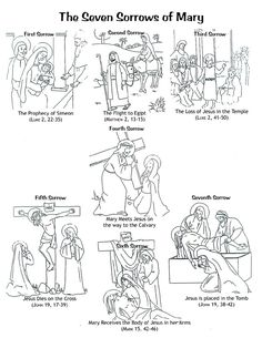 The Seven Sorrows of Mary- printable coloring page for children
