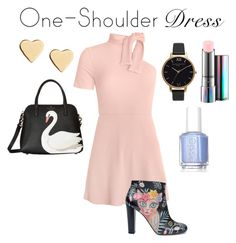 """""""One Shoulder Dress"""" by strawberryshades ❤ liked on Polyvore featuring Kate Spade, Camilla Elphick, Lipsy, Olivia Burton, MAC Cosmetics and Essie"""