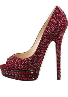 Jimmy Choo Dark red 'Kendall' Beaded Platform Pump #Shoes #JimmyChoo #Heels