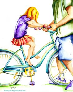 Big Girl Bicycle art print - Watercolor Painting - great Father's day gift - Dad and Daughter