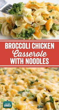 Thirty Minute Broccoli Chicken Casserole with Egg Noodles. A weeknight dinner…
