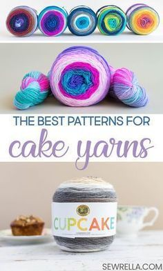 Knit and Crochet Patterns with Lion Brand Cake Yarns Have you ever seen cake yarns in the store and not really known what they were about, or what to do with them? I've solved that problem, friends! Find lots of lovely crochet and knit patterns here. Caron Cake Crochet Patterns, Caron Cakes Crochet, Crochet Cake, Crochet Gifts, Crochet Stitches, Knit Crochet, Knitting Patterns, Dishcloth Crochet, Crochet Humor