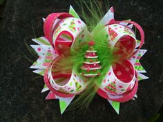 Pink & Lime Sparkle Christmas Tree Boutique Resin Hairbow on Etsy, $7.99