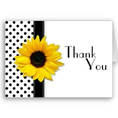 Black & White Polka Dot Thank You Card.