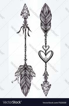 Ethnic boho decorative arrows set in tattoo style vector image on VectorStock Girl Arm Tattoos, Mom Tattoos, Friend Tattoos, Couple Tattoos, Body Art Tattoos, Feather Arrow Tattoo, Feather Tattoos, Arrow Tattoo Design, Arrow Tattoos For Women