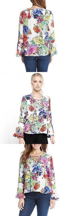 Karen Kane Watercolor Floral Lace Up Top in Multi (Small, Multi)