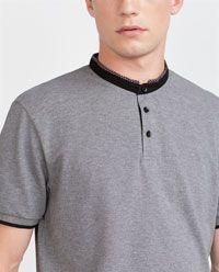 Imagen 5 de POLO CUELLO MAO de Zara Polo Vest, Polo T Shirts, Men's Polo, Mens Fashion Wear, Best Mens Fashion, Boys Clothes Style, Men Design, Mens Tees, Shirt Style