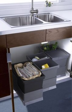 Incorporate a kitchen trash and recycling center for holding sorted trash, glass, cans, paper, plastic, foam, film & plastic bags, etc.