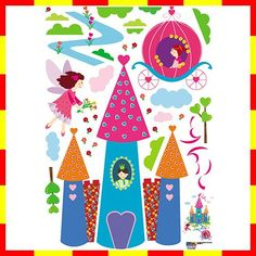 PL58137 CASTLE KIDS ROOM WALL DECO DECAL MURAL STICKER $12.54