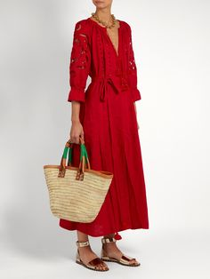 Shop our edit of women's designer Dresses from luxury designer brands at MATCHESFASHION Sunflower Dress, Cutwork Embroidery, Seaside Style, Ankle Strap Sandals, Hemline, Wrap Dress, Women Wear, Sleeves, Color