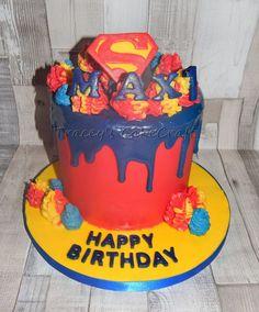 Superman all chocolate drip cake