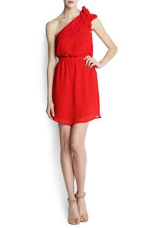 Besticktes Chiffon-Kleid mit asymmetrischem Saum