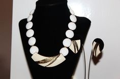 CROWN TRIFARI Designer Couture White Lucite by MyJewelsBoutique