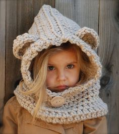 """""""Ravelry: The Baylie Bear Cowl pattern by Heidi May.This one is Crochet."""" Is it bad that I hope it comes in adult sizes, too? :P Also, it's not a free pattern. But it IS adorable. Crochet For Kids, Knit Crochet, Crochet Hats, Free Crochet, Learn Crochet, Crochet Lion, Knit Hats, Knitting Projects, Crochet Projects"""