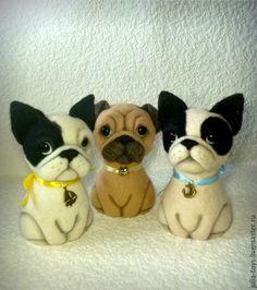 Купить Собачки - мопсы, бульки - собака, собачки, мопс, французский бульдог, бульдог, валяная собака