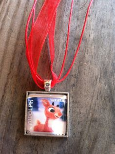 Rudolph Necklace   Dome Pendant Tray Necklace  Postage Stamp