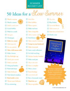 Slow Summer Bucket List
