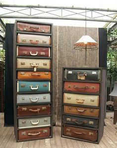 Vintage suitcases repurposed as chest of drawers. I know I hate people that say repurposed Vintage Furniture, Diy Furniture, Upscale Furniture, Cardboard Furniture, Bedroom Furniture, Diy Casa, Vintage Suitcases, Vintage Luggage, Vintage Trunks