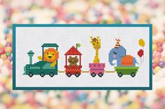 Cross Stitch Pattern Little Circus Animals in the train