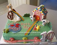 Homemade Littlest Pet Shop Birthday Cake: My daughter wanted her favorite Littlest Pet Shop Birthday Cake to star on her birthday this year. I baked two 9x13 cake layers.  The frosting is buttercream