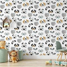 Puppy Dogs Removable Wallpaper, Modern Kids Room Decor, Cute Animal Wall Cling, Playroom Peel and Stick, Canine Pattern Wall Mural Decal - Canvas Wall Decal / 1 roll: 24W x 108H