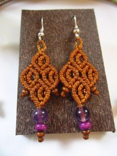Orange Macrame Earrings with Amethyste by PapachoCreations on Etsy, $15.00