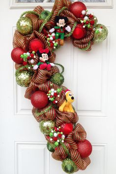 Candy Cane Deco Mesh Mickey Minnie Pluto