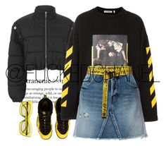 """A great fan of black and yellow."" by fuckedchanel ❤ liked on Polyvore featuring NIKE, 3.1 Phillip Lim, Off-White, Yves Saint Laurent and Prada"